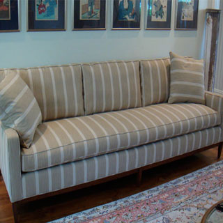 Long One Seat Cushion Sofa - Custom Upholstery and Reupholstery by Dreams Upholstery NYC