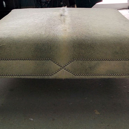 Custom Ottoman With Cowhide & Nail Head Trim - Custom Upholstery and Reupholstery by Dreams Upholstery NYC