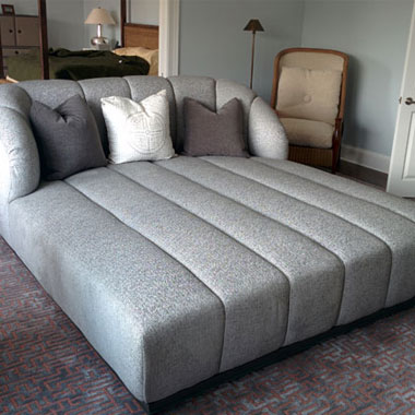 Custom Double Wide Chaise - Custom Upholstery and Reupholstery by Dreams Upholstery NYC