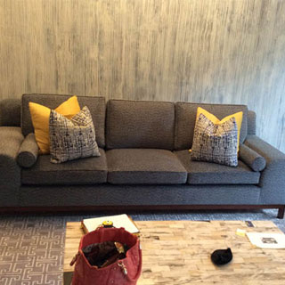 Custom Sofa With Refinished Wood Base - Custom Upholstery and Reupholstery by Dreams Upholstery NYC