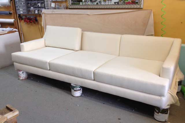 Custom 9 Foot Sofa With A Grey Finished Base   Custom Upholstery And  Reupholstery By Dreams