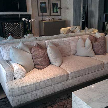 Custom 9 Foot Sofa With A Grey Finished Base - Custom Upholstery and Reupholstery by Dreams Upholstery NYC