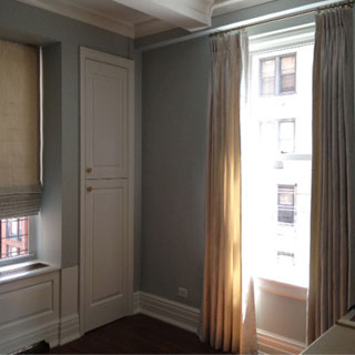 Roman Shade & Pinch Pleat Drapery With Rod & Rings - Custom Upholstery and Reupholstery by Dreams Upholstery NYC