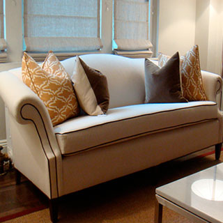 Camel Back Sofa Reupholstered - Custom Upholstery and Reupholstery by Dreams Upholstery NYC