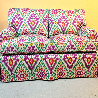 Colorful Sofa Reupholstered - Custom Upholstery and Reupholstery by Dreams Upholstery NYC