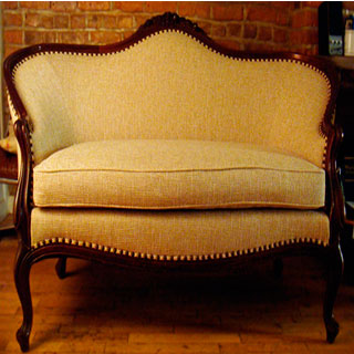 Settee Repaired And Reupholstered - Custom Upholstery and Reupholstery by Dreams Upholstery NYC