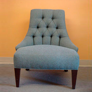 Button Tufted Slipper Chair - Custom Upholstery and Reupholstery by Dreams Upholstery NYC