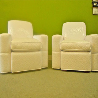 Pair Of Vinyl Armchairs - Custom Upholstery and Reupholstery by Dreams Upholstery NYC