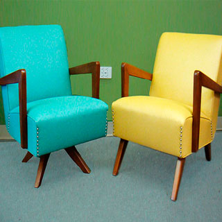 Blue & Yellow Accent Chairs - Custom Upholstery and Reupholstery by Dreams Upholstery NYC