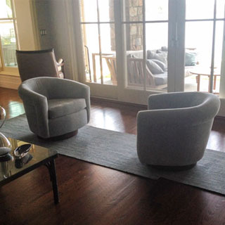 Milo Baughman Swivel Lounge Chairs - Custom Upholstery and Reupholstery by Dreams Upholstery NYC